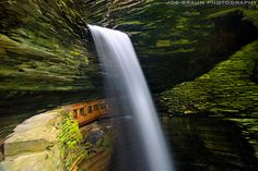 "Watkins Glen (The Finger Lakes) -- © 2008 Joe Braun Photography - The beautiful ""Cavern Cascade"" with the path that goes right underneath the falls. This photographer has a ""gorges"" gallery of great Finger Lakes images. Check his work out for inspiration when planning where to go in this area."