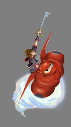 Sora and Baymax in Big Hero 6 Kingdom Hearts