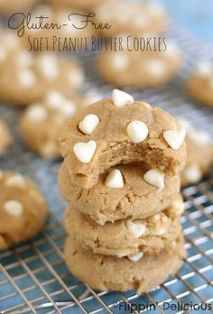 Soft batch Gluten-Free Peanut Butter Cookies with white chocolate chips