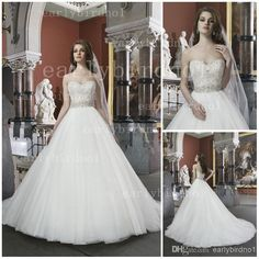 Wholesale Ball Gown Wedding Dress - Buy 2014 Spring Summer Ball Gown Wedding Dresses Sexy Cheap Crystals Beaded Organza Button Covered Back Chapel Train Bridal Gowns JA 8724, $133.07 | DHgate.com