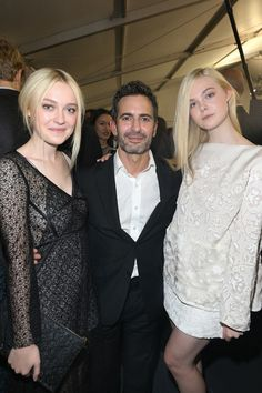 Dakota Fanning, Marc Jacobs and Elle Fanning