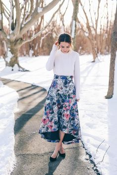 Valentine's Day Outfit Ideas in a Hi-Low Hem Skirt on Prosecco & plaid
