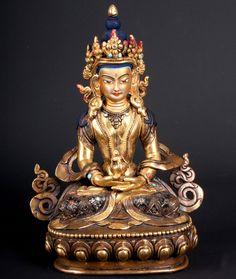 Nepal 20. Jh. Bronzefigur - A Nepalese Gilt Bronze Figur of Amitayus - Népalais