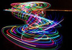 a rainbow LED hula hoop