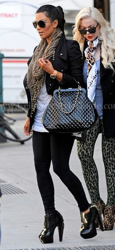 Seen on Celebrity Style Guide: Kim Kardashian leaves her downtown hotel with a friend October 9, 2010