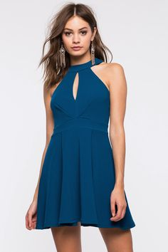 Women's Fit & Flare Dresses | Halter Keyhole Flare Dress | A'GACI
