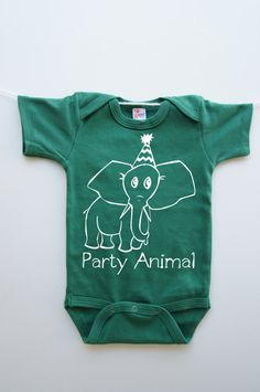 Elephant wearing Party Hat Onesie- Happy Birthday Baby Clothes