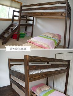 DIY bunk bed with stairs | TheMombot.com