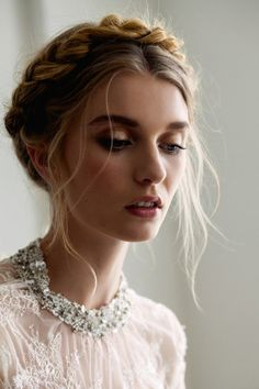 Crown braid. Pretty hair and makeup.