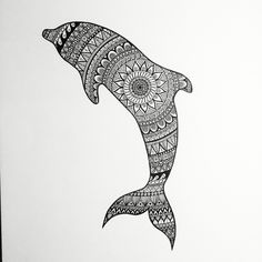Zentangle Dolphin #zentangle #dolphin #black #white #mandala #doodle #drawing #animal