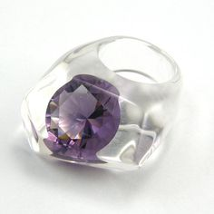 Clear resin ring with large Zirconia, Tanzanite Zirconia Ring