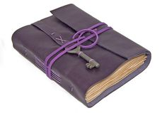 Leather Journal with Tea Stained Pages and Skeleton Key Bookmark