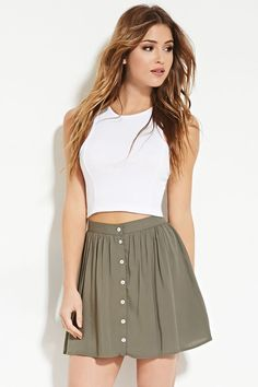 Forever 21 is the authority on fashion & the go-to retailer for the latest trends, styles & the hottest deals. Shop dresses, tops, tees, leggings & more! Shop Forever, Forever 21, Girls In Mini Skirts, Button Skirt, Something Beautiful, Skater Skirt, Latest Trends, Buttons, Best Deals