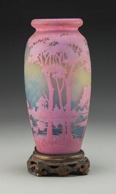 Art Glass:Daum, Daum Overlay Glass Landscape Vase Mounted as a Lamp. Circa 1915.Cameo Daum, Nancy, (Cross of Lorraine). Ht. 12 in.. ...
