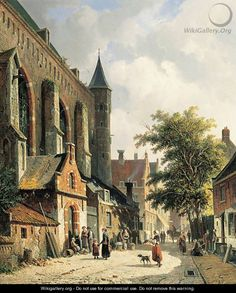 Straatje te Edam Townsfolk in a sunlit street - Adrianus Eversen Medieval Life, Dutch Painters, Heaven On Earth, Delft, Middle Ages, Architecture, 19th Century, Holland, Amsterdam