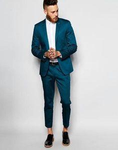 New Style Groomsmen Peak Lapel Groom Tuxedos Green/Teal/Yellow/Purple Men Suits Wedding Best Man (Jacket+Pants+Hanky) New Style Groomsmen Peak Lapel Groom Tuxedos Green/Teal/Yellow/Purple - chicmaxonline suits men turquoise Teal Suit, Blue Suit Men, Blue Suits, Women's Suits, Pant Suits, New Mens Suits, Dress Suits For Men, Suit For Men, Mens Suits Style