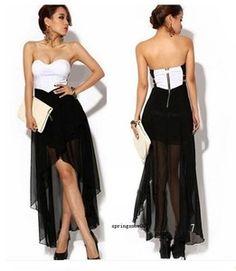 Women Asymmetric Cocktail Party Evening Dress Sexy Strapless Dress Summer Skirt  $18