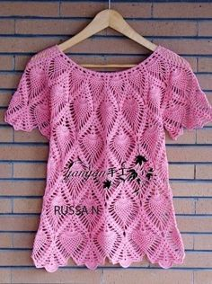 Hello friends, see that beautiful pink crochet blouse with pineapple stitches .. I found the tutorial below ... bisous !!!!
