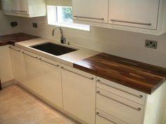 Cream high gloss/walnut kitchen