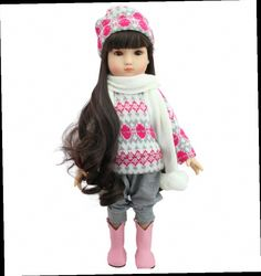 """54.67$  Watch now - http://ali0cp.worldwells.pw/go.php?t=32621176939 - """"Models 18"""""""" Dark Brown Hair 45cm Girl Doll Realistic Baby Toys Birthday Gift for Girls As American Girl Dolls"""" 54.67$"""