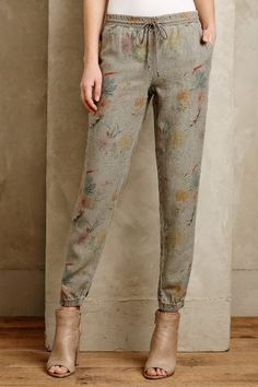 Level 99 Floral Joggers - anthropologie.com - love these. Not sure I could pull them off but I would try! I'm very interested in trying some Level 99 denim too!