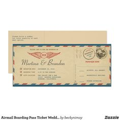 Shop Airmail Boarding Pass Ticket Wedding Invitation created by beckynimoy. Titanic Wedding, Great Gatsby Wedding, Titanic Boat, Aviation Theme, British Invasion, Travel Themes, Airmail, Old Hollywood, Ticket