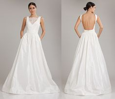Theia White Couture Open Back Lace  Wedding dress