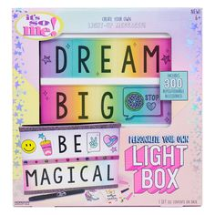 Personalize Your Own Light Box Set, Multi-Colored Arts And Crafts Kits, Craft Kits, Diy Kits, Crafts For Girls, Diy For Girls, Light Box Display, Marker Crafts, Spirograph, Jewelry Kits
