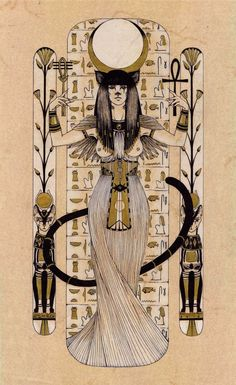 Bastet - Egyptian goddess of cat by Carella-Art