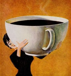 Woman Holding a Huge Cup of Coffee. Inspired by the entire history of modern design and pop culture spanning the 20th century to today. This artwork is 100% exclusive to AllPosters.com