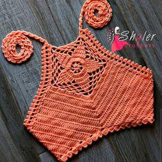 Crochet Bra, Crochet Bikini Pattern, Crochet Halter Tops, Crochet Cardigan Pattern, Crochet Girls, Crochet Crop Top, Filet Crochet, Crochet Clothes, Crochet Patterns
