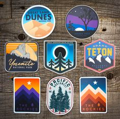 Weatherproof adventure decals for your water bottles, car windows, kayaks, you name it. Stick 'em up & Stay Wild. Decals USA Made. Laptop Stickers, Cute Stickers, Badge Design, Logo Design, Tumblr Stickers, Pin And Patches, Car Windows, Stay Wild, Graphic Design Inspiration
