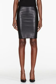 Dion Lee | Black Leather 3D Filter Mini Skirt