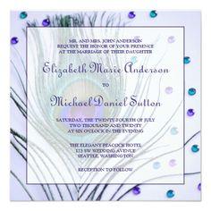Peacock Wedding Invitations Glam Peacock Feather Purple Wedding Card