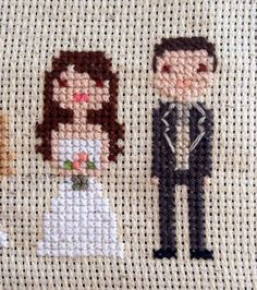 Wedding cross stitch portraits from the Seridoodle Paper Co. on Etsy