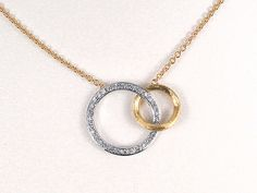 Marco Bicego Jaipur Interlocking Circle #Necklace, 18K Two-Tone, Round #Diamonds Equal .24 Carats.  #jewelry