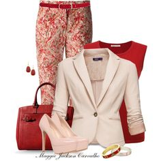 """""""Pale Pink Shoes and Something Red"""" by maggie-jackson-carvalho on Polyvore"""