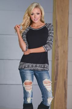 Outside The Lines Aztec Raglan Top from Closet Candy Boutique