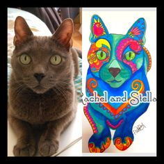 custom cat portrait unique bold and bright colored paisley design animal art ready to frame cat illustration