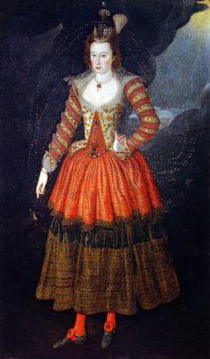 Elizabeth Manners,Countess of Rutland in a masquerade costume designed by Inigo Jones by  John de Critz the Elder,1606