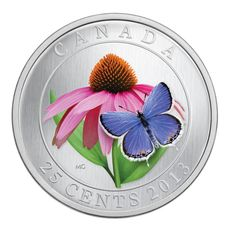 Canada 2013 25 cents Silver Coin - Purple Coneflower with Venetian Glass Butterfly - Royal Canadian Mint Canadian Things, I Am Canadian, Glass Butterfly, Blue Butterfly, Mint Coins, Silver Coins, Coin Art, O Canada, Silver Bullion