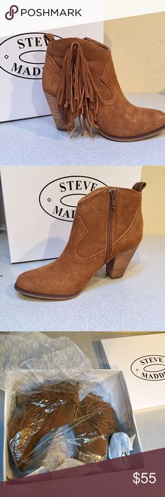 """NEW Steve Madden fringe booties 6.5 Brand new in original box.  Steve Madden genuine leather boots with zippered inside.  Fringe on outsides. Approx 3.5"""" heel.  Lined.  Color: Chestnut.  Original cost $89.99 Steve Madden Shoes Ankle Boots & Booties"""