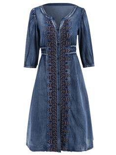 Drawstring Tribal Button Up Denim Dress - BLUE S Mobile