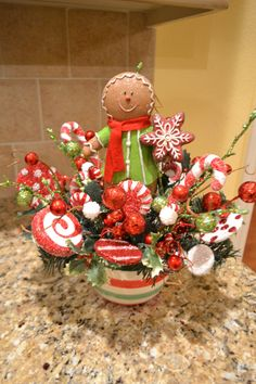 Whimsical Gingerbread Man Arrangement by kristenscreations on Etsy