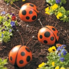 Make cute little buggers (ladybugs or bumblebees) out of bowling balls -- perfect for kids and adorable garden art.