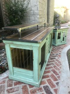 Designer indoor dog kennels! Replace your wire dog crate with a beautiful piece of functional furniture! Great conversation piece that can be used as an entertainment center, console table, entry table, credenza, buffet, kitchen island or laundry room folding table! Share your ideas with us! We build custom pieces!