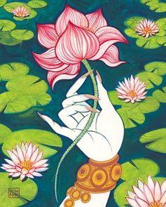 """""""Lotuses in Hinduism symbolize prosperity, beauty, fertility, eternity and eternal youth."""" This is a very pretty flower, so it's symbolization fits it. I love the way it stands out! White lotus for mandala. Pichwai Paintings, Indian Art Paintings, Abstract Paintings, Kerala Mural Painting, Yoga Studio Design, Art Asiatique, Buch Design, Indian Folk Art, Hindu Art"""