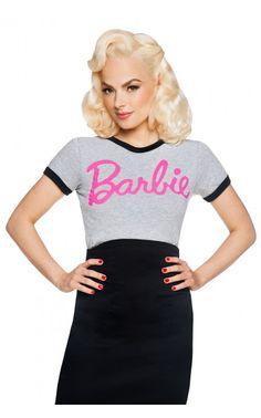 Pinup Girl Clothing- Barbie Logo Tee in Grey   Pinup Girl Clothing