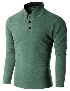 Doublju Mens Denim Collar Pocket Point Longsleeve Polo Shirts ...