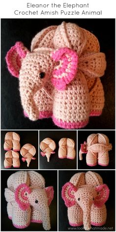 Eleanor the Elephant Crochet Amish Puzzle Ball by Lookatwhatimade